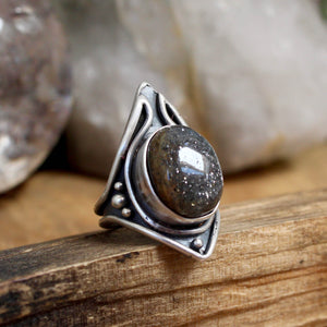 Warrior Ring // Black Sunstone - Size 6 - Acid Queen Jewelry
