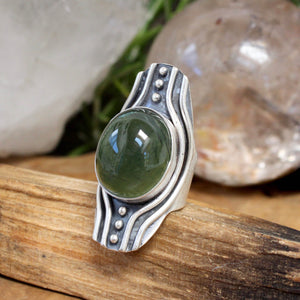 Warrior Shield Ring // Prehnite - Size 7 - acid-queen-jewelry, All Products - acid-queen-jewelry, vendor-unknown - acid-queen-jewelry,  Acid Queen Jewelry - acid-queen-jewelry