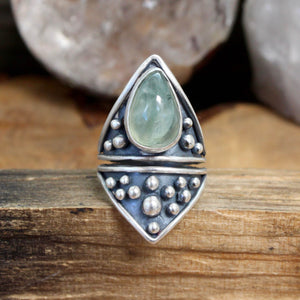 Sarek Ring // Prehnite - Size 7.5 - acid-queen-jewelry, All Products - acid-queen-jewelry, vendor-unknown - acid-queen-jewelry,  Acid Queen Jewelry - acid-queen-jewelry