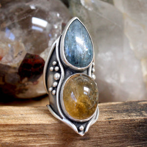 Double Warrior Ring // Kyanite and Citrine - Size 8 - acid-queen-jewelry, All Products - acid-queen-jewelry, vendor-unknown - acid-queen-jewelry,  Acid Queen Jewelry - acid-queen-jewelry