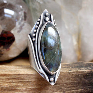 Warrior Shield Ring // Labradorite - Size 8 - acid-queen-jewelry, All Products - acid-queen-jewelry, vendor-unknown - acid-queen-jewelry,  Acid Queen Jewelry - acid-queen-jewelry