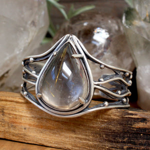 Laced Warrior Cuff // Rutilated Quartz - acid-queen-jewelry, [product_type] - acid-queen-jewelry, Acid Queen Jewelry - acid-queen-jewelry,  Acid Queen Jewelry - acid-queen-jewelry