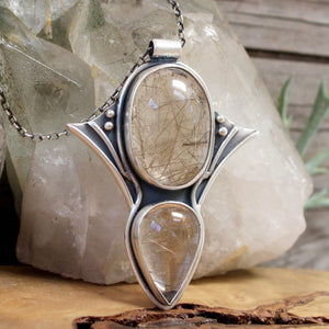 Voyager Pendant // Double Rutilated Quartz - acid-queen-jewelry, All Products - acid-queen-jewelry, vendor-unknown - acid-queen-jewelry,  Acid Queen Jewelry - acid-queen-jewelry