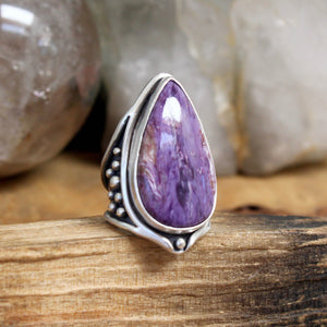 Warrior Ring // Charoite - Size 6 - acid-queen-jewelry, All Products - acid-queen-jewelry, vendor-unknown - acid-queen-jewelry,  Acid Queen Jewelry - acid-queen-jewelry