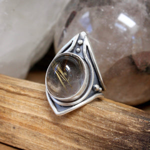 Warrior Ring // Rutilated Quartz - Size 9 - acid-queen-jewelry, All Products - acid-queen-jewelry, vendor-unknown - acid-queen-jewelry,  Acid Queen Jewelry - acid-queen-jewelry