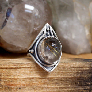 Warrior Ring // Rutilated Quartz - Size 9 - Acid Queen Jewelry