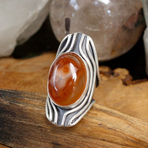 Warrior Shield  Ring // Carnelian- Size 7.25 - Acid Queen Jewelry