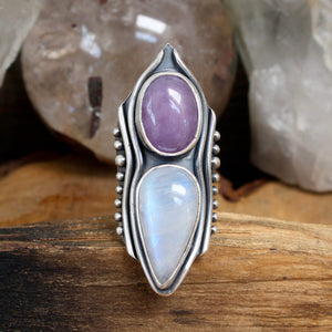 Warrior Shield Ring // Lavender Amethyst + Rainbow Moonstone - Size 8 - acid-queen-jewelry, All Products - acid-queen-jewelry, vendor-unknown - acid-queen-jewelry,  Acid Queen Jewelry - acid-queen-jewelry