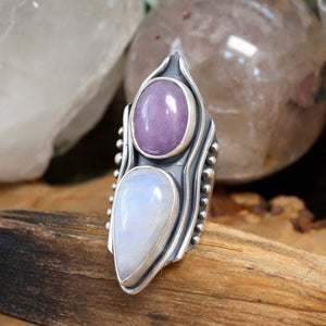 Warrior Shield Ring // Lavender Amethyst + Rainbow Moonstone - Size 8 - Acid Queen Jewelry