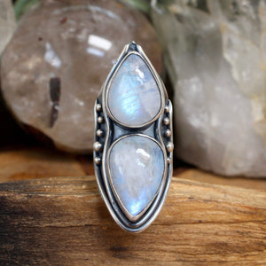 Warrior Shield Ring // Double Rainbow Moonstone - Size 8.25 - acid-queen-jewelry, All Products - acid-queen-jewelry, vendor-unknown - acid-queen-jewelry,  Acid Queen Jewelry - acid-queen-jewelry
