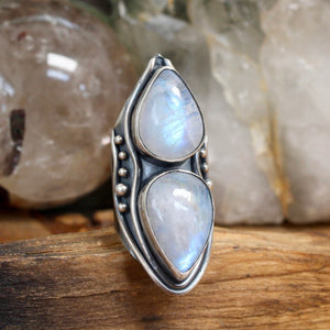Warrior Shield Ring // Double Rainbow Moonstone - Size 8.25 - Acid Queen Jewelry