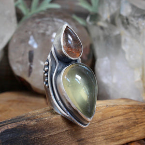 Warrior Shield Ring // Lemon Quartz and Sunstone - Size 8 - acid-queen-jewelry, All Products - acid-queen-jewelry, vendor-unknown - acid-queen-jewelry,  Acid Queen Jewelry - acid-queen-jewelry