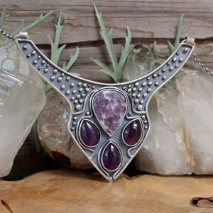 Voyager Neck Cuff // Lepidolite and Amethyst - acid-queen-jewelry, All Products - acid-queen-jewelry, vendor-unknown - acid-queen-jewelry,  Acid Queen Jewelry - acid-queen-jewelry