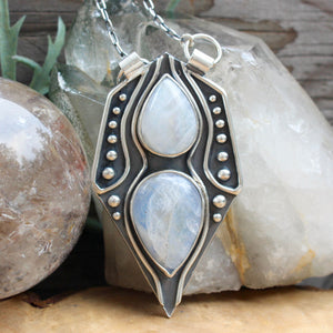 Voyager Necklace // Double Rainbow Moonstone - acid-queen-jewelry, All Products - acid-queen-jewelry, vendor-unknown - acid-queen-jewelry,  Acid Queen Jewelry - acid-queen-jewelry