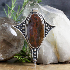 Voyager Necklace //  Red Moss Agate - acid-queen-jewelry, All Products - acid-queen-jewelry, vendor-unknown - acid-queen-jewelry,  Acid Queen Jewelry - acid-queen-jewelry