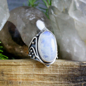Warrior Ring // Rainbow Moonstone - Size 10 - acid-queen-jewelry, All Products - acid-queen-jewelry, vendor-unknown - acid-queen-jewelry,  Acid Queen Jewelry - acid-queen-jewelry