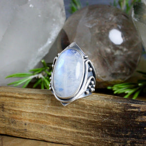 Warrior Ring // Rainbow Moonstone - Size 10 - Acid Queen Jewelry