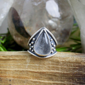 Warrior Ring // Tourmalated Quartz - Size 5.5 - acid-queen-jewelry, All Products - acid-queen-jewelry, vendor-unknown - acid-queen-jewelry,  Acid Queen Jewelry - acid-queen-jewelry