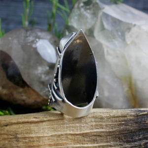 Amplifier Ring // Smoky Quartz - Size 9 - acid-queen-jewelry, [product_type] - acid-queen-jewelry, Acid Queen Jewelry - acid-queen-jewelry,  Acid Queen Jewelry - acid-queen-jewelry