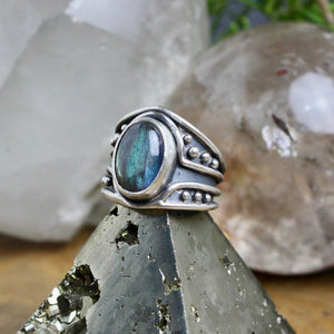 Warrior Ring // Labradorite - Size 7.5 - acid-queen-jewelry, All Products - acid-queen-jewelry, vendor-unknown - acid-queen-jewelry,  Acid Queen Jewelry - acid-queen-jewelry
