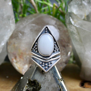 Sarek Ring // White Moss Agate - Size 8 - Acid Queen Jewelry