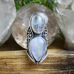 Warrior Shield Ring // Double Rainbow Moonstone - Size 8 - acid-queen-jewelry, All Products - acid-queen-jewelry, vendor-unknown - acid-queen-jewelry,  Acid Queen Jewelry - acid-queen-jewelry