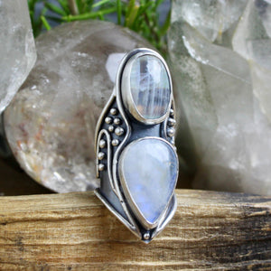 Warrior Shield Ring // Double Rainbow Moonstone - Size 8 - Acid Queen Jewelry