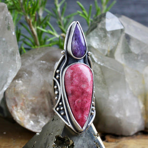 Warrior Shield Ring // Thulite + Charoite - Size 9 - Acid Queen Jewelry