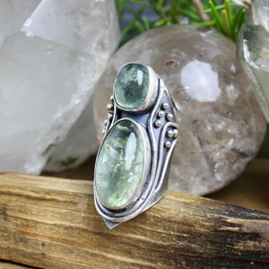 Warrior Mini Shield Ring // Double Aquamarine  - Size 8 - Acid Queen Jewelry