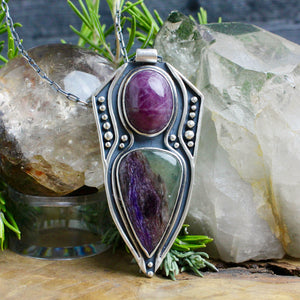 Voyager Shield Necklace // Ruby + Charoite - acid-queen-jewelry, All Products - acid-queen-jewelry, vendor-unknown - acid-queen-jewelry,  Acid Queen Jewelry - acid-queen-jewelry