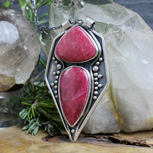 Voyager Necklace // Double Thulite - acid-queen-jewelry, All Products - acid-queen-jewelry, vendor-unknown - acid-queen-jewelry,  Acid Queen Jewelry - acid-queen-jewelry