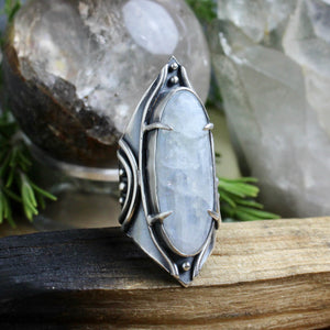Warrior Shield Ring // Rainbow Moonstone - Size 10 - acid-queen-jewelry, All Products - acid-queen-jewelry, vendor-unknown - acid-queen-jewelry,  Acid Queen Jewelry - acid-queen-jewelry