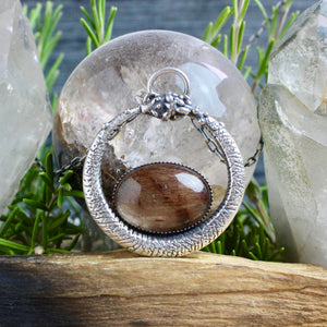 Serpent Queen Pendant // Oval Rutilated Quartz - acid-queen-jewelry, All Products - acid-queen-jewelry, vendor-unknown - acid-queen-jewelry,  Acid Queen Jewelry - acid-queen-jewelry