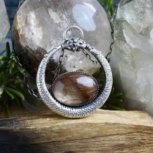 Serpent Queen Pendant // Oval Rutilated Quartz - Acid Queen Jewelry