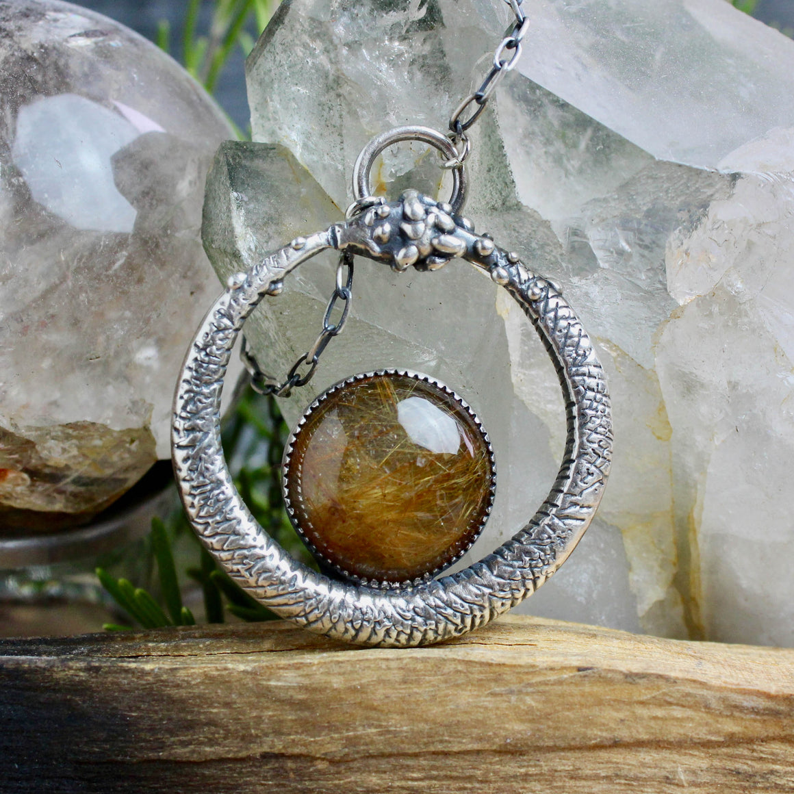 Serpent Queen Pendant // Rutilated Quartz - acid-queen-jewelry, All Products - acid-queen-jewelry, vendor-unknown - acid-queen-jewelry,  Acid Queen Jewelry - acid-queen-jewelry