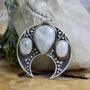 Voyager Moon Necklace // Triple Rainbow Moonstone - acid-queen-jewelry, All Products - acid-queen-jewelry, vendor-unknown - acid-queen-jewelry,  Acid Queen Jewelry - acid-queen-jewelry