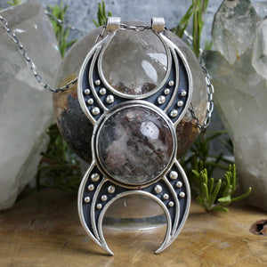 Voyager Triple Moon Goddess Necklace // Lodolite - Acid Queen Jewelry