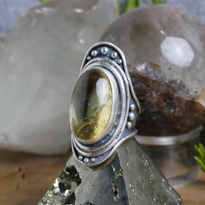 Warrior Shield Ring // Citrine - Size 10 - Acid Queen Jewelry
