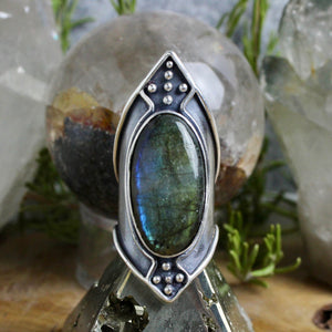 Warrior Shield Ring // Labradorite - Size 10 - Acid Queen Jewelry