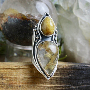 Warrior Shield Ring // Double Rutilated Quartz  - Size 8.5 - Acid Queen Jewelry
