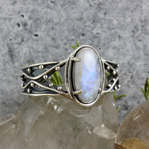 Warrior Laced Cuff // Rainbow Moonstone - Medium - Acid Queen Jewelry