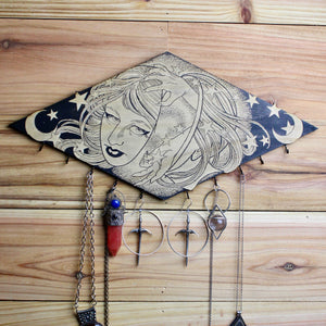 Celestial Witch Wall Hanging Necklace Holder - acid-queen-jewelry, [product_type] - acid-queen-jewelry, Acid Queen Jewelry - acid-queen-jewelry,  Acid Queen Jewelry - acid-queen-jewelry