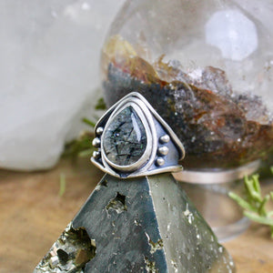Warrior Ring // Tourmalated Quartz - Size 7 - Acid Queen Jewelry
