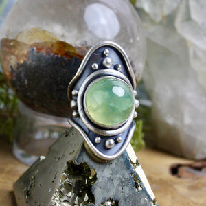 Warrior Shield Ring // Prehnite - Size 8.5 - acid-queen-jewelry, All Products - acid-queen-jewelry, vendor-unknown - acid-queen-jewelry,  Acid Queen Jewelry - acid-queen-jewelry