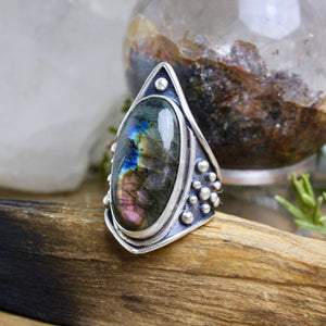Warrior Shield Ring // Labradorite - Size 9 - Acid Queen Jewelry