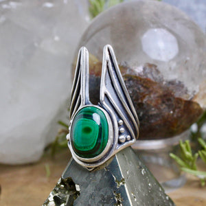 Warmaster Ring // Malachite - Size 10.5 - acid-queen-jewelry, [product_type] - acid-queen-jewelry, Acid Queen Jewelry - acid-queen-jewelry,  Acid Queen Jewelry - acid-queen-jewelry