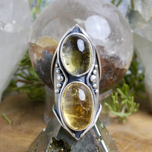 Warrior Shield  // Double Citrine - Size 10 - Acid Queen Jewelry