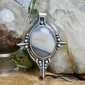 Voyager Necklace // Blue Lace Agate - Acid Queen Jewelry