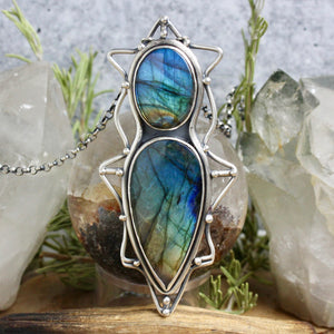 Serpentine Voyager Necklace // Double Labradorite - acid-queen-jewelry, All Products - acid-queen-jewelry, vendor-unknown - acid-queen-jewelry,  Acid Queen Jewelry - acid-queen-jewelry