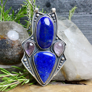 Empress Chest Shield Necklace // Lapis Lazuli and Amethyst - Acid Queen Jewelry